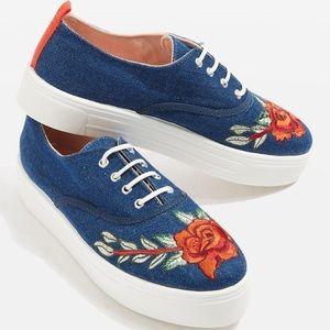 Topshop College Embroidered Flatform Sneaker